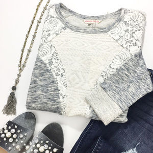 Rebecca Taylor Gray Lurex Lace Cotton Sweater